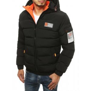 Čierna pánska zimná teplá bunda s oranžovým detailom