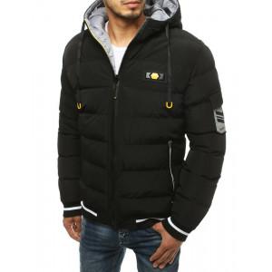 Čierna obojstranná pánska zimná bunda s kapucňou