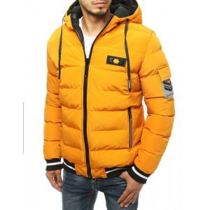 Žltá obojstranná pánska zimná bunda s kapucňou
