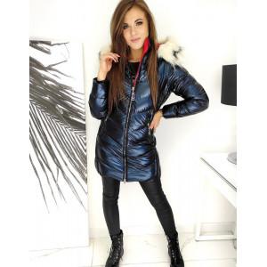Krásna dámska tmavomodrá zimná bunda