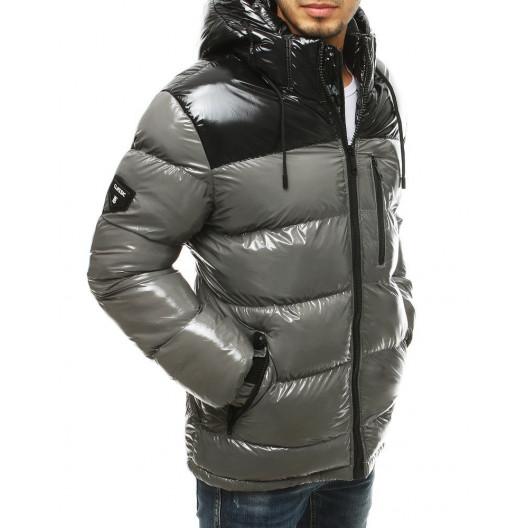 Mestská pánska sivá zimná bunda s kapucňou