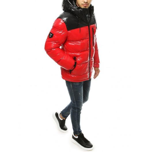 Lesklá červená zimná pánska prešívaná bunda
