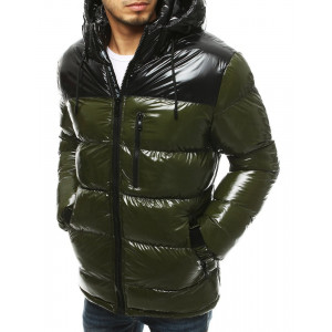 Zelená lesklá pánska prešívaná zimná bunda