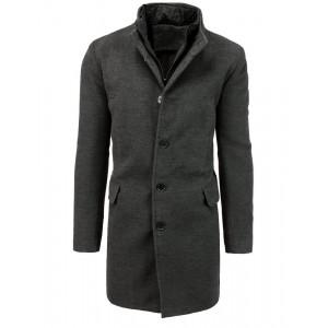 Pánsky jednoradový zimný kabát tmavošedý