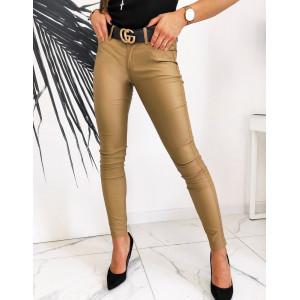 Lesklé dámske nohavice v krásnej hnedo karamelovej farbe