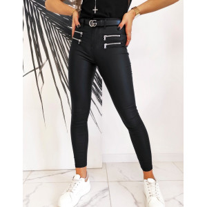 Trendy dámske čierne obtiahnuté nohavice s módnymi zipsami