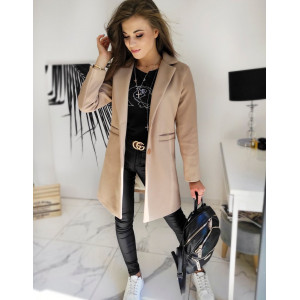 Béžový elegantný dámsky jednoradový kabát