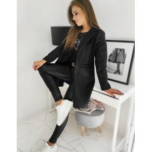 Dámsky klasická čierny jednoradový kabát