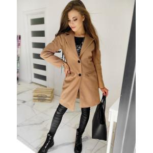 Elegantný dámsky kabát v krásnej karamelovej farbe
