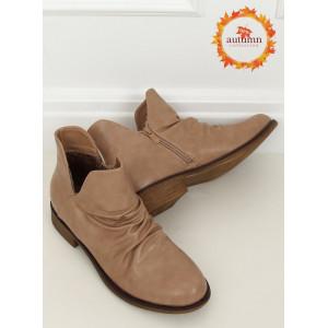 Béžové členkové topánky s krátkym zvrškom