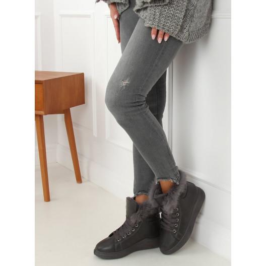 Zateplená dámska športová obuv s kožušinou
