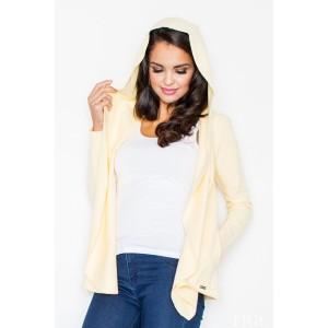 Dámsky žltý sveter s kapucňou