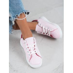 Ružové dámske tenisky s bielymi šnúrkami