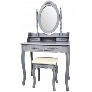 Sivý toaletný stolík na kozmetiku