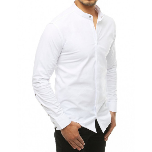 Moderná pánska biela košeľa so stand up golierom