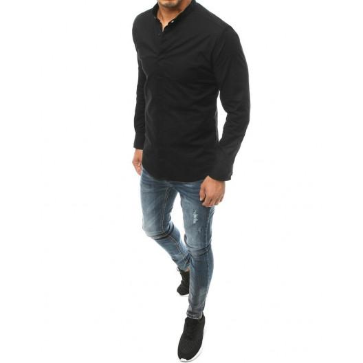 Originálna pánska čierna košeľa so stand up golierom