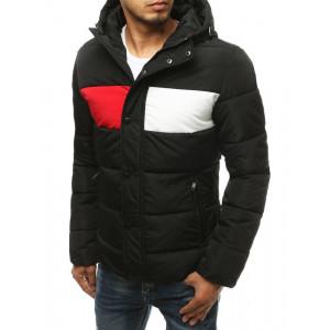 Štýlová pánska čierna bunda na zimu TRIO s kapucňou