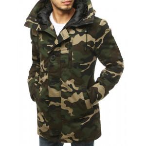 Zelená pánska army bunda s kapucňou