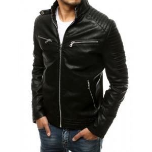 Štýlová pánska čierna motorkárska kožená bunda so striebornými zipsami