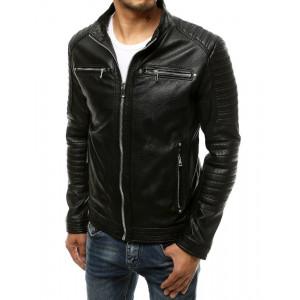 Čierna pánska kožená bunda so stojačikom a striebornými zipsami