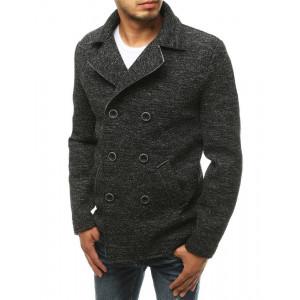 Originálny pánsky krátky čierny kabát na dvojradové zapínanie