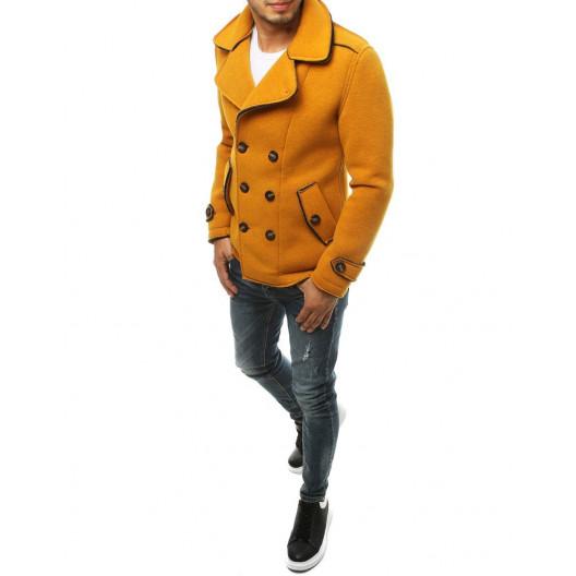 Dvojradový pánsky žltý kabát s módnym prepracovaním