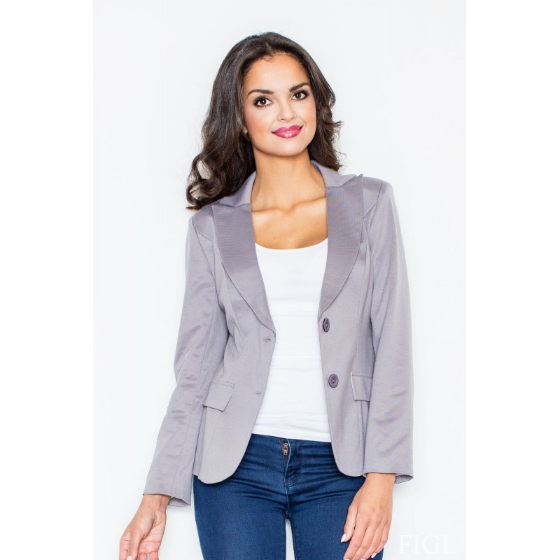 1d35477a6349 Elegantné dámske sako sivej farby - fashionday.eu