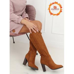 Hnedé zateplené dámske čižmy na vysokom podpätku
