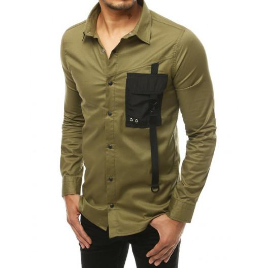 Originálna pánska zelená ležérna košeľa