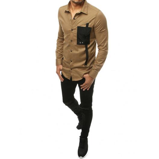 Béžová pánska košela s designovým náprsným vreckom