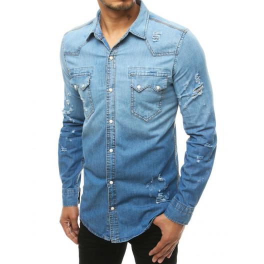 Štýlová dámska svetlo modrá rifľová košeľa s módnym dierami