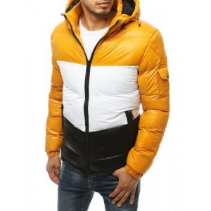 Žltá prešívaná zimná bunda s kapucňou pre pánov