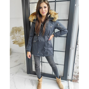 Sivá dámska zimná bunda s kožušinou a kapucňou