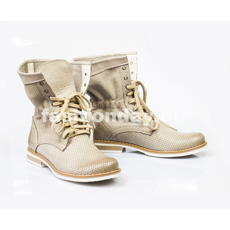 Dámske kožené topánky cappuccino DT001 - fashionday.eu 72c823ed044