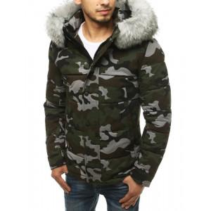 Pánska zimná bunda v army štýle s kožušinou