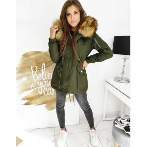 Army dámska zelená bunda na zimu s kapucňou a teplým kožúškom