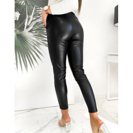 Lesklé dámske čierne nohavice so sťahujúcou šnúrkou a pukmi
