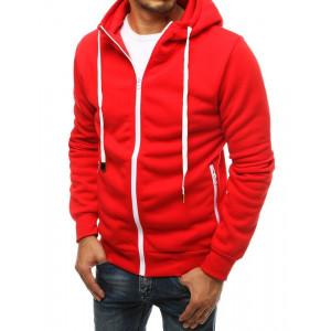 Jednofarebná pánska mikina červenej farby