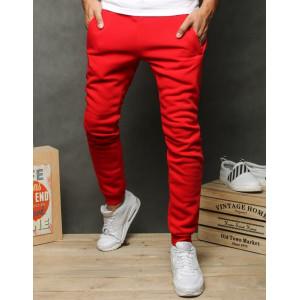 Štýlové pánske červené jogger tepláky s bočnými vreckami na zips