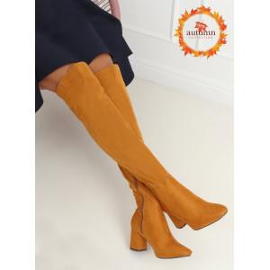 Módne dámske čižmy nad kolená v žltej farbe