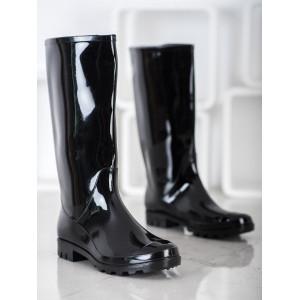 Štýlové dámske gumené čižmy čiernej farby
