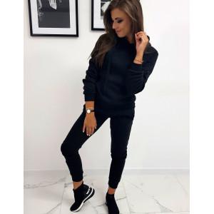 Jednofarebná dámska čierna tepláková joggingová súprava s kapucňou