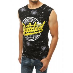 Pánske čierne tričko zo sriekaným efektom