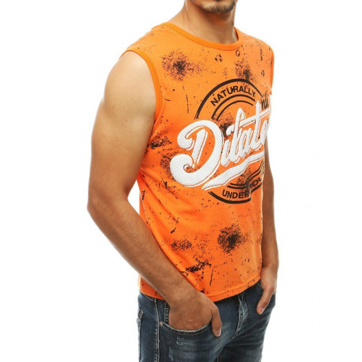 Pánske oranžové tričko zo sriekaným efektom