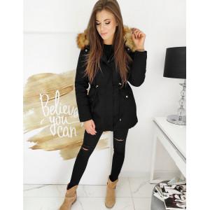 Štýlová dámska čierna bunda parka CLASSIC s kapucňou