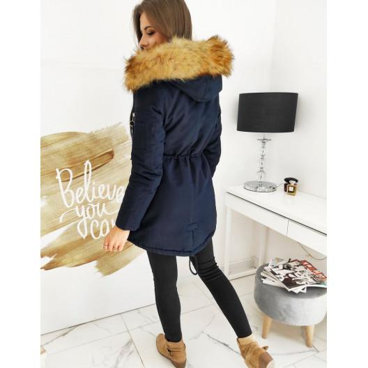 Zateplená dámska modrá zimná bunda CLASSIC s kapucňou