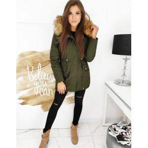 Army zelená dámska zimná bunda parka CLASSIC s kapucňou