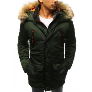 Pánska zelená predĺžená bunda na zimu s kožusšinovou kapucňou