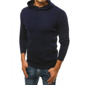Tmavo modrý jednofarebný pánsky sveter BASIC ONE s kapucňou