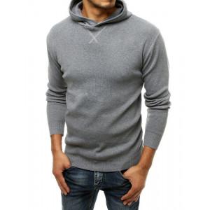 Moderný pánsky sivý sveter s kapucňou